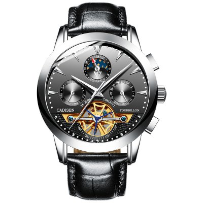 Cadisen Men watch Skeleton Automatic Mechanical Leather Wristwatch Fashion Business Watches masculino Top Brand Luxury 30M