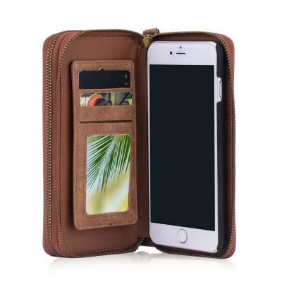 Wkae Multi-Functional Retro Double Zipper Leather Case Cover for IPhone 7 / 8