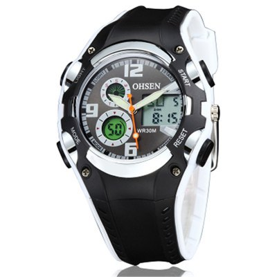 OHSEN AD1309 4539 Rubber Band Men Quartz Watch