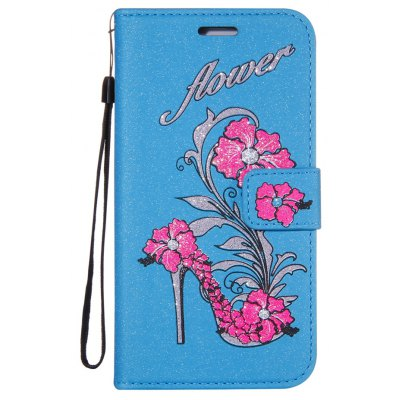 Wkae Printed Rattan Shoes Leather Case Cover with Hold Lanyard and Card Slots for Huawei P10 LITE