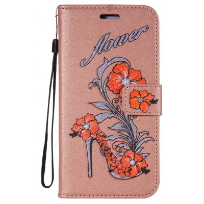 Wkae Printed Rattan Shoes Leather Case Cover with Hold Lanyard and Card Slots for Huawei Y5 2017