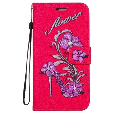 Wkae Shining Rattan Shoes Leather Case Cover with Hold Lanyard and Card Slots for Huawei Y6 II