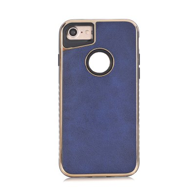 Dual Layer PC +TPU Eletroplating PC Retro Crazy Horse Leather Skin Shell Cover Case for iPhone 8