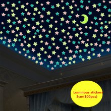 WS 100Pcs Lovely Luminous Stars Wall Stickers Home Glow In The Dark for Kids Fluorescent Decoration