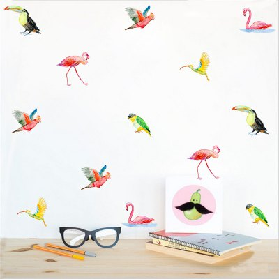 36pcs of Color Bird Wall Stickers for Home Decoration