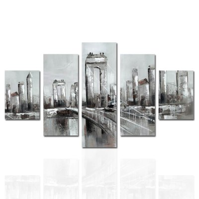 HX - ART Frameless Canvas Five-set Painting Street Bridge