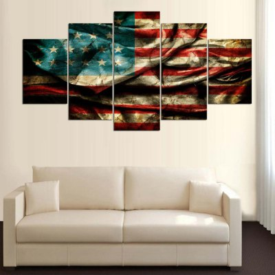 5 Panel Flag Canvas Print Painting Home Decoration Wall Rrt Picture