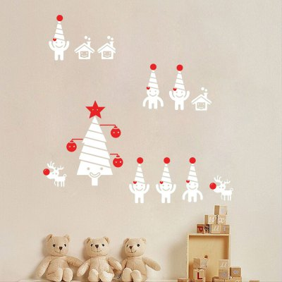 D078 Christmas Wall Stickers Snowman Decoration Posters
