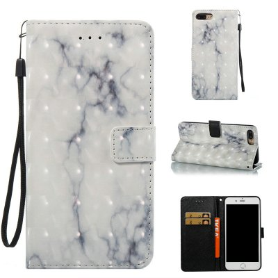 3D Marble Pattern Painted Pu Phone for iPhone 8 Plus / 7 Plus
