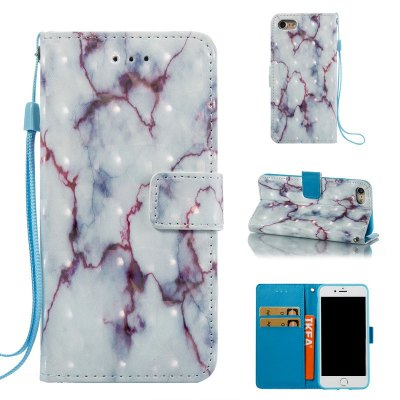 3D Marble Pattern Painted Pu Phone for iPhone 8 / 7