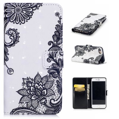 For iPhone 7 / 8 3D Lace Printing Pattern Varnishing Process Wallet Card Holder with Stand PU Leather Material Phone Case