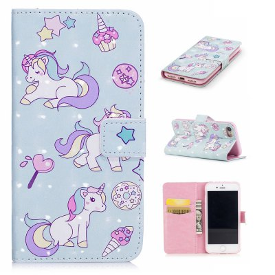 For iPhone 7 / 8 3D Unicorn Pattern Varnishing Process Wallet Card Holder with Stand PU Leather Material Phone Case