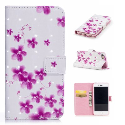 For iPhone 7 / 8 3D Pink Flowers Pattern Varnishing Process Wallet Card Holder with Stand PU Leather Material Phone Case