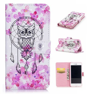 For iPhone 7 / 8 3D Owl Pattern Varnishing Process Wallet Card Holder with Stand PU Leather Material Phone Case