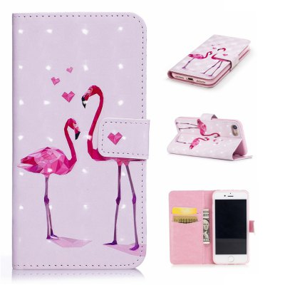 For iPhone 7 / 8 3D Flamingo Pattern Varnishing Process Wallet Card Holder with Stand PU Leather Material Phone Case