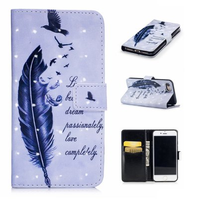 For iPhone 7 / 8 3D Birds Feathers Pattern Varnishing Process Wallet Card Holder with Stand PU Leather Material Phone Case