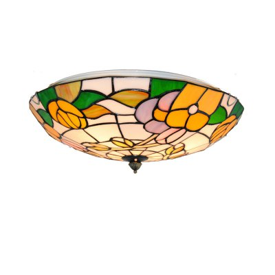 Brightness Diameter 40cm Tiffany Ceiling Light Glass Shade Living Dining Room Bedroom Flush Mount XD011