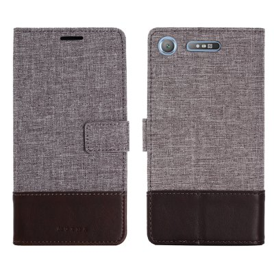 MUXMA Durable Canvas Design Flip PU Leather Wallet Case for Sony Xperia XZ1