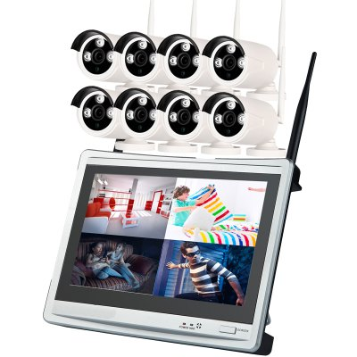 8 Channel 720P Wireless Nvr Kit 12.5 Inch Lcd Wifi Nvr 8 x 1.0MP Wifi Ip Camera with Night Vision