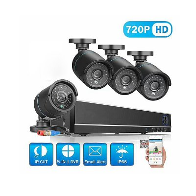 4 Channel Security Camera System with 4CH 1080N ahd Dvr 4 × 1.0MP Weatherproof Camera with Night Vision