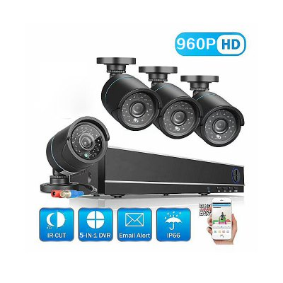 4 Channel Security Camera System with 4CH 1080N Ahd Dvr 4 ×1.3mp Weatherproof Camera with Night Vision