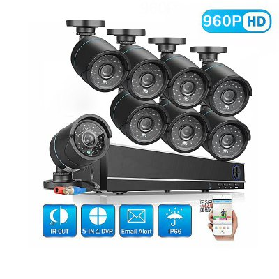 8 Channel Security Camera System with 8CH 1080N ahd Dvr 8 × 1.3MP Weatherproof Camera with Night Vision.