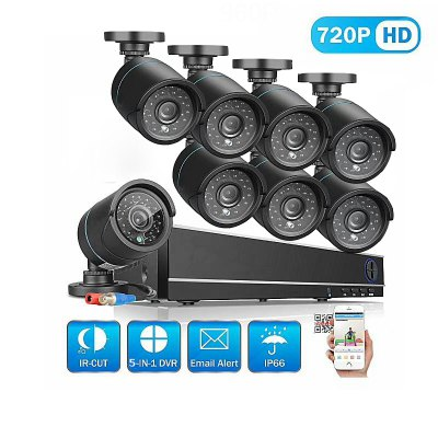 8 Channel Security Camera System with 8CH 1080N Ahd Dvr 8 × 1.0MP Weatherproof Camera with Night Vision.