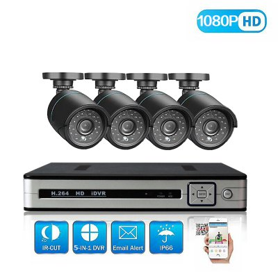 4 Channel Security Camera System with 4CH 1080N Ahd Dvr 4 × 2.0MP Weatherproof Camera with Night Vision.