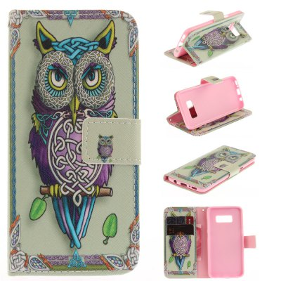 Owl Pattern PU+TPU Leather Wallet Design with Stand and Card Slots Magnetic Closure Case for Samsung Galaxy S8