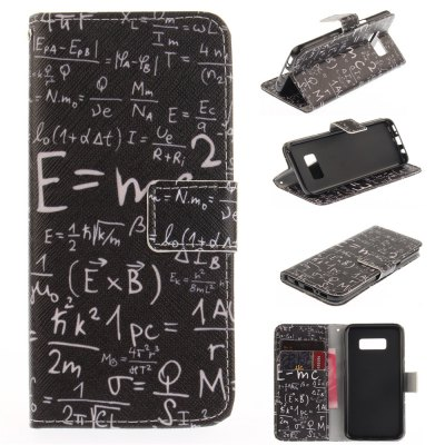 Mathematical Formula PU+TPU Leather Wallet Design with Stand and Card Slots Magnetic Closure Case for Samsung Galaxy S8