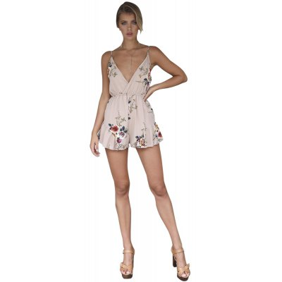 Printed Harness with Lotus Leaf V-Neck Sexy Siamese Pants