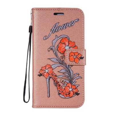 Wkae Printed Rattan Shoes Leather Case Cover with Holder Lanyard and Card Slots for Sony Xperia L1