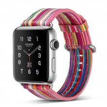 Genuine Leather Iwatch Strap Rainbow Replacement Bands with Stainless Metal Clasp for Apple Watch Series 3 Series 2 Series 1 38mm