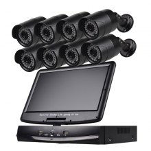8 Channel Security Camera System 10.1 Inch Lcd 1080N Ahd Dvr 8 × 1.0MP Weatherproof Camera with Night Vision