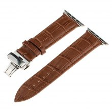 42mm Genuine Leather Replacement Strap Wrist Bands with Butterfly Buckle for iWatch Series 3 2 1