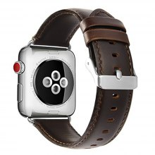 Premium Vintage Crazy Horse Genuine Leather Replacement Band for iWatch 42mm Series 3 2 1 Sport and Edition