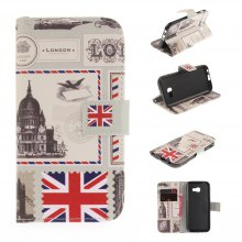 Stamp Designing PU+TPU Leather Wallet Case Design With Stand and Card Slots Magnetic Closure for Samsung Galaxy A5 2017 A520