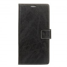 Genuine Quality Retro Style Crazy Horse Pattern Flip PU Leather Wallet Case for Samsung A8 2018