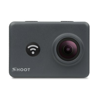 SHOOT Action Camera 14MP 4K WIFI 170 Degree Ultra Wide-Angle Lens Outdoor 1080P Bundle with 2 Pcs Rechargeable Batteries and Waterproof Small Carrying Case