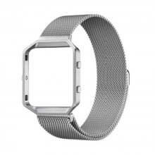 Rugged Metal Frame Housing with Magnet Lock Milanese Loop Stainless Steel Bracelet Strap for Fitbit Blaze