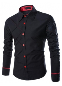 Men's Casual Simple Spell Color Long Sleeves Shirts