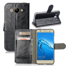 Durable Oil Wax Pattern Flip PU Leather Wallet Case for Huawei Y3 (2017 Edition)