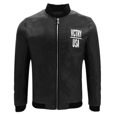 Autumn Winter Men'S Motorcycle Fashion PU Leather Baseball Clothing Stand Collar Cool Slim Short Jacket
