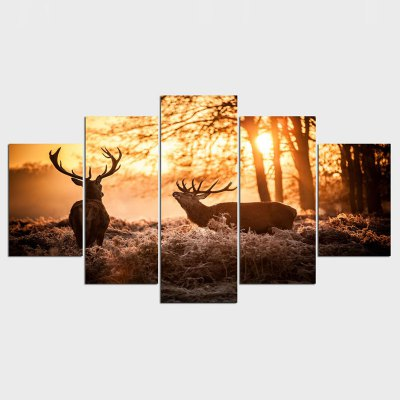 Nature Elk Landscape 5 Panels Canvas Paintings Wall Decorations for Home Office Artwork Giclee Home Decor