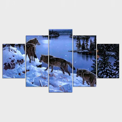 HD Snow Wolf Lake Painting Canvas Painting Room Decor Print Poster Canvas Free Shipping 5 Pieces