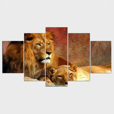 5 Piece Canvas Art Animals Lion Group Painting Decoration for Home Print Poster Canvas Free Shipping