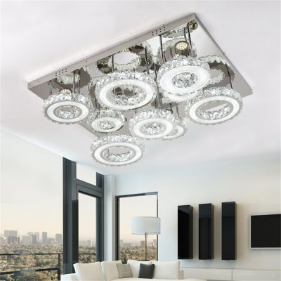 Stepless Adjustment LED Ceiling Lamp Hollow Square Shape Light with Small Round Circle 220V