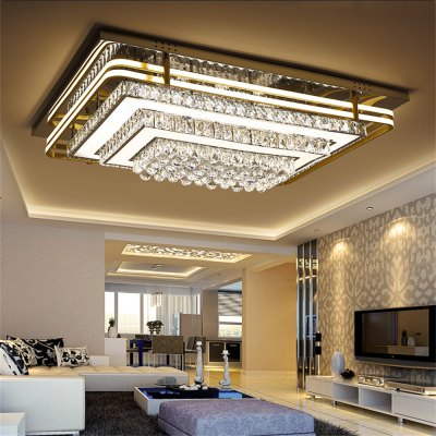 Stepless Adjustment LED Ceiling Lamp Hollow Three-layer Rectangle Light 220V