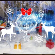 Wholesale 2018 New Christmas Snowflake Elk PVC Wall Stickers Personalized Custom Wallpaper