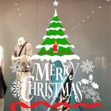 M-119 Creative 2018 Classic Christmas Tree Window Glass PVC Wall Stickers